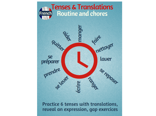 Tenses and Translations practice in French with the routine topic