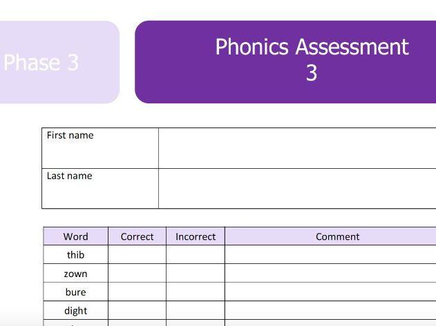Phase 3 Phonics Screen