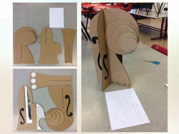 Cubism painting/card sculpture project
