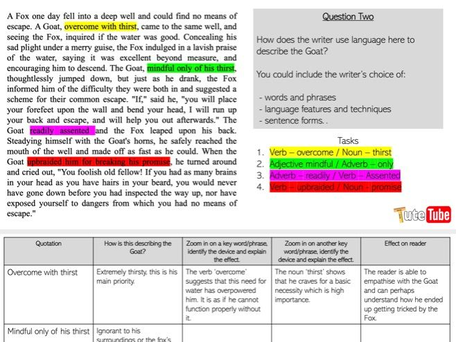 AQA Language Paper One walkthrough Resource WITH LINK TO YOUTUBE VIDEO