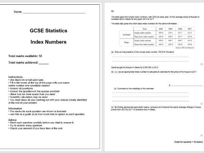 Index Numbers Exam Questions (GCSE Statistics)