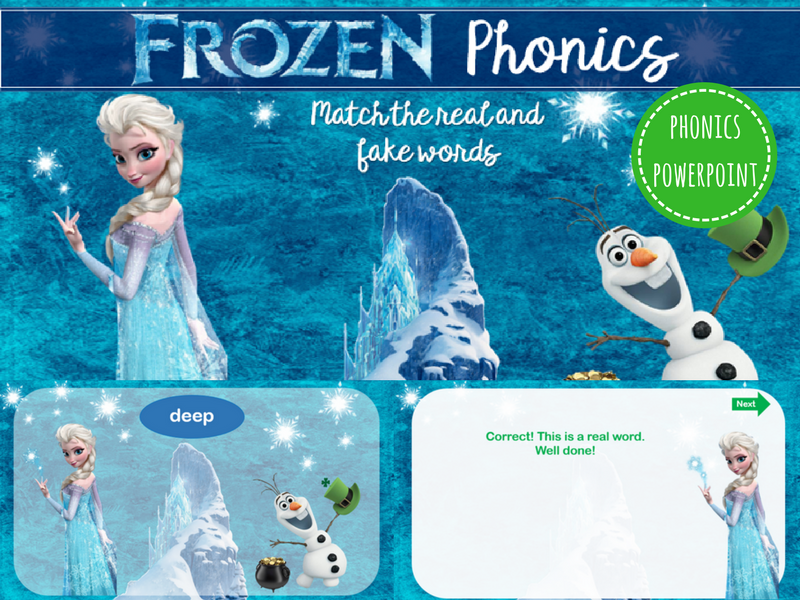 Frozen: Phase 3 Phonics Powerpoint (real and fake words)