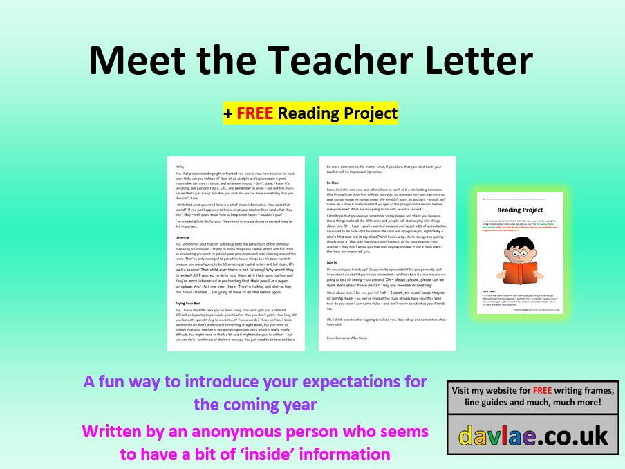 Back to School: Meet the Teacher Letter for Year 5 and 6 (+ FREE READING PROJECT)