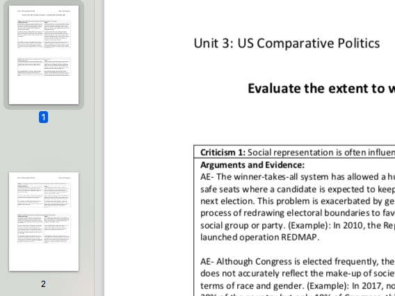 "EDEXCEL A level Politics ""Evaluate how far Congress is a representative institution"" essay plan"