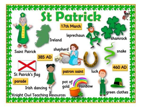 St Patrick word Mat