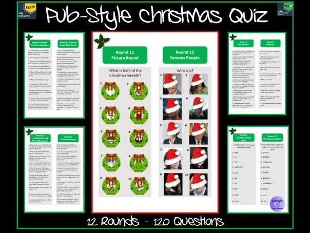 Pub-Style Christmas Quiz (Printable, Paper-Based) - 12 Rounds / 120 Questions