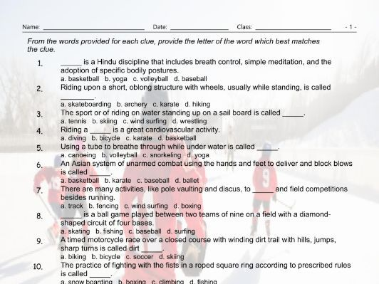 Sports Multiple Choice Worksheet By Eslfungames Teaching Resources