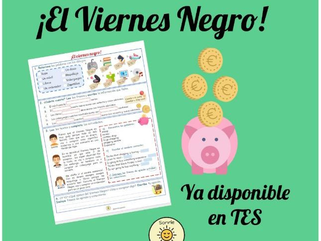 De compras, el Viernes Negro. Spanish shopping, Black Friday. Worksheet with answers