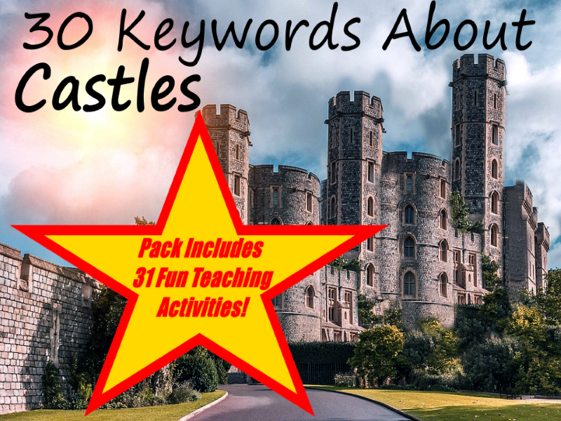 30 Key Castle Words PowerPoint Presentation + 31 Fun Teaching Activities For These Cards