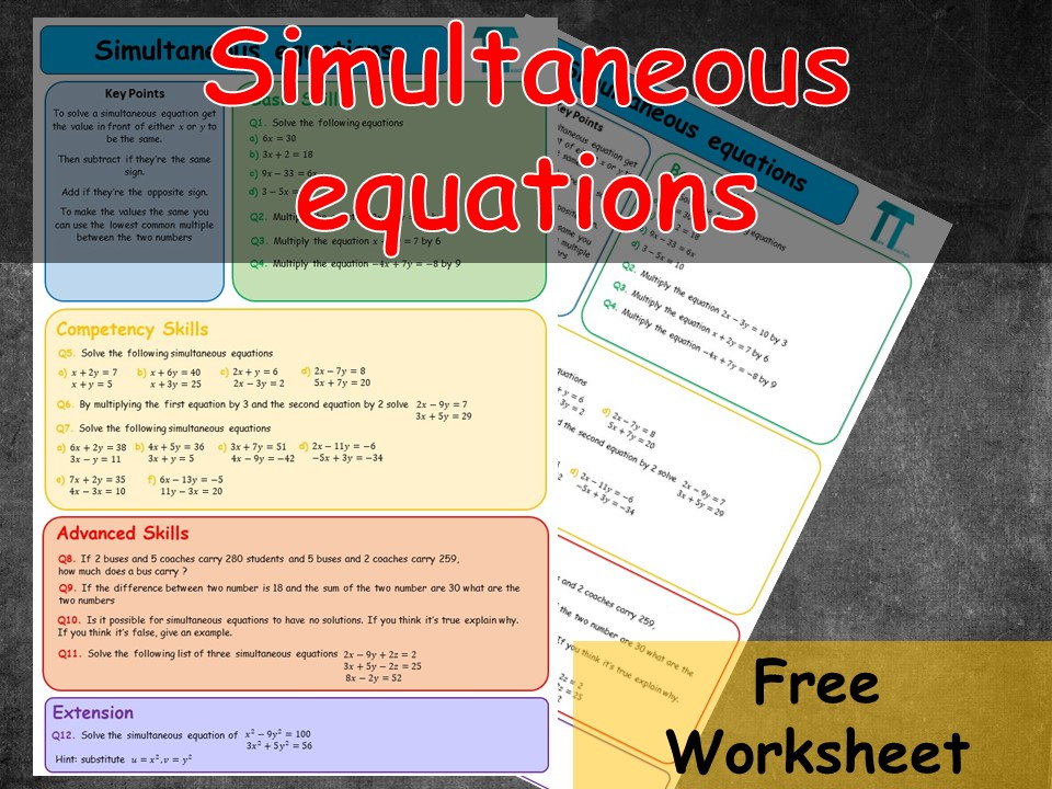 Simultaneous equations by elimination worksheet