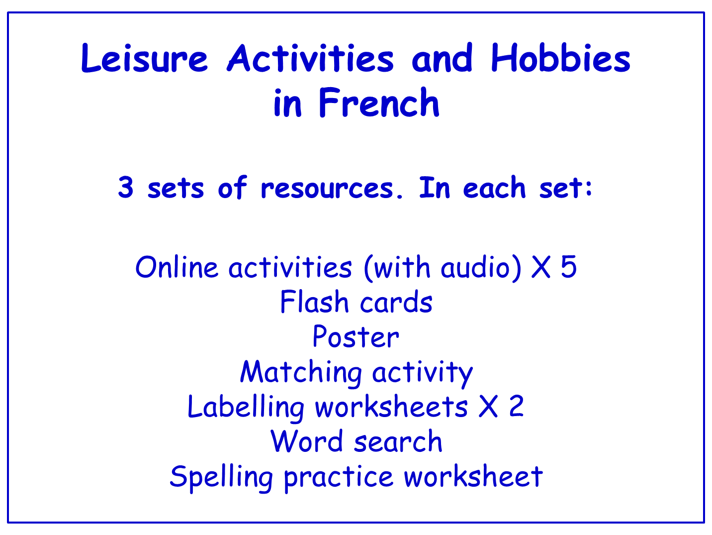 Leisure Activities and Hobbies in French  Worksheets, Games, Activities and Flash Cards (with audio) Bundle (3 sets)