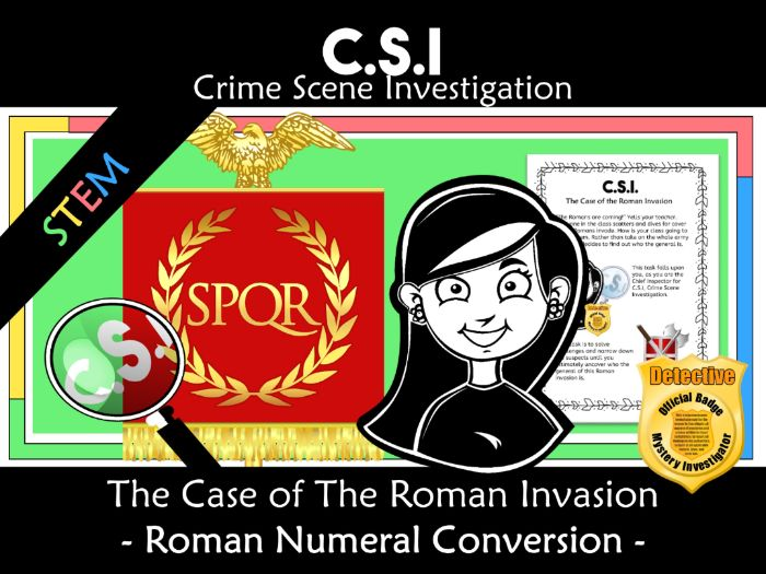 CSI: Math Murder Mystery-The Roman Invasion - Converting Roman Numerals