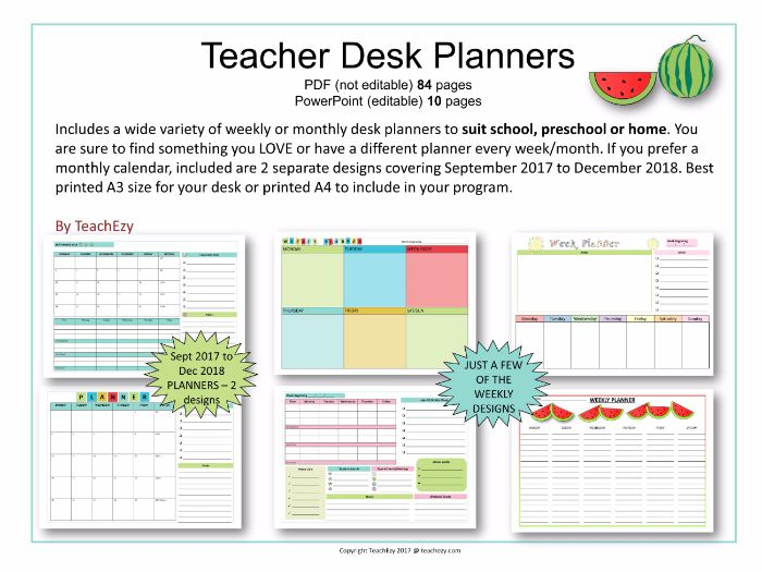 Teacher Desk Planners