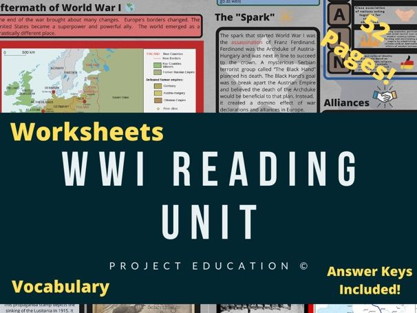 World War I Reading Unit and Worksheets