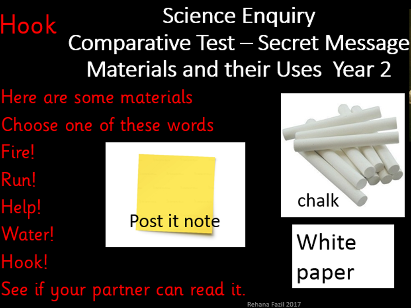 Year 2  Materials and their uses -Secret Message GFOL