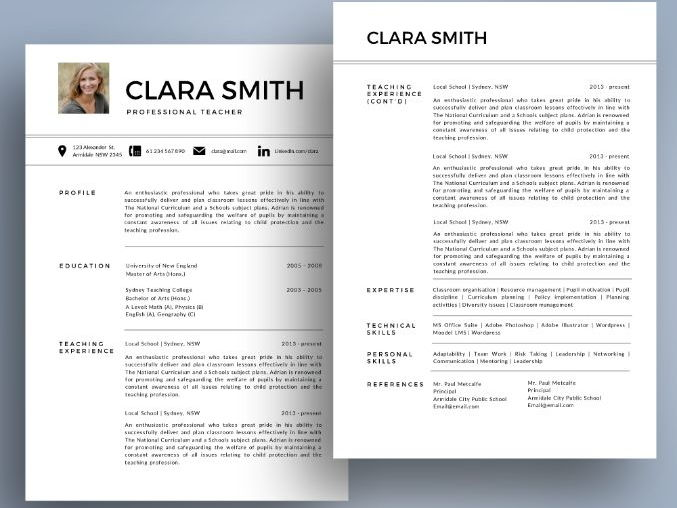 Modern photo teacher resume cover letter templates for MS PowerPoint (pptx)