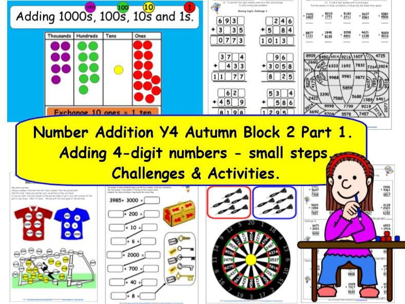 Number Addition Y4 Autumn Block 2 Part 1 KS2  Challenges for White Rose Small Steps