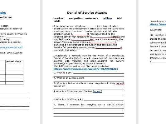 GCSE System Security : Brute force and Denial of Service Attacks
