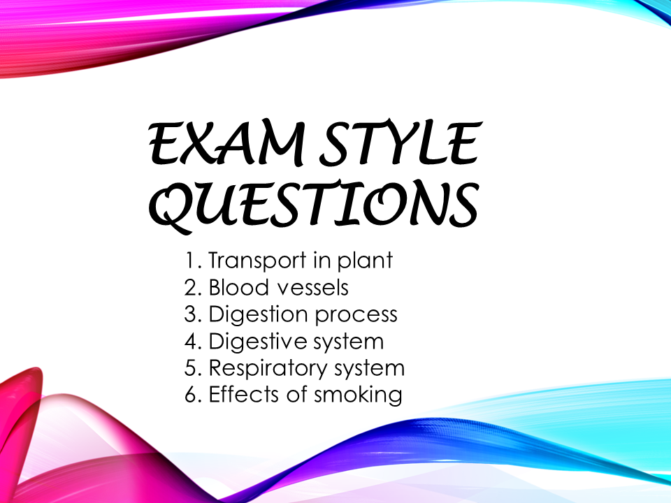 Revision 1 - Exam style questions (KS3, Year 8, IGCSE)