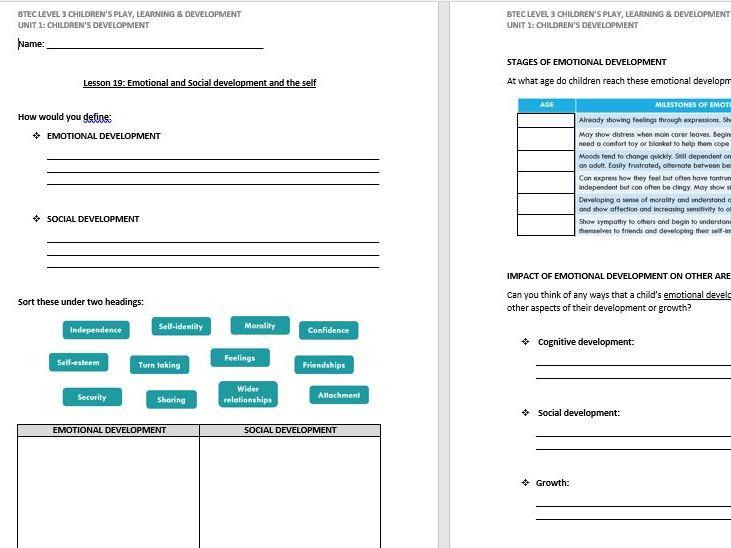 Social & Emotional Development lesson handout (CPLD L3 Unit 1)