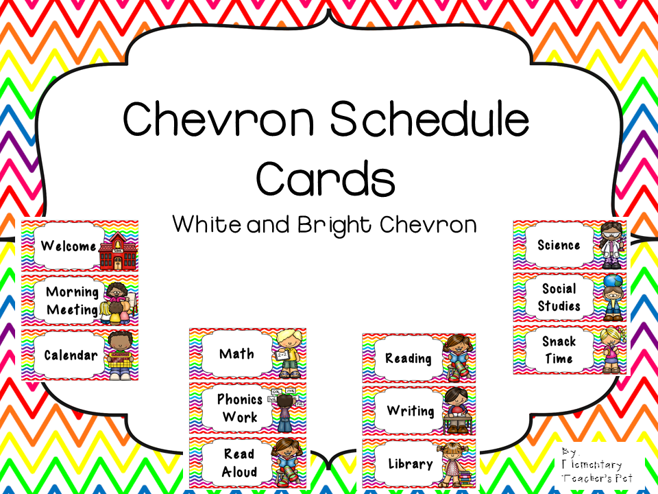 Daily Schedule Cards-White and Bright Chevron