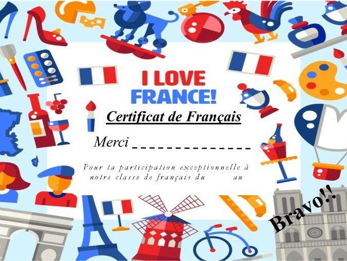 General French certificate 18/ Certificat de francais 18