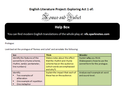 Differentiated 10 Page Booklet Exploring Five Excerpts from Act One of 'Romeo & Juliet'