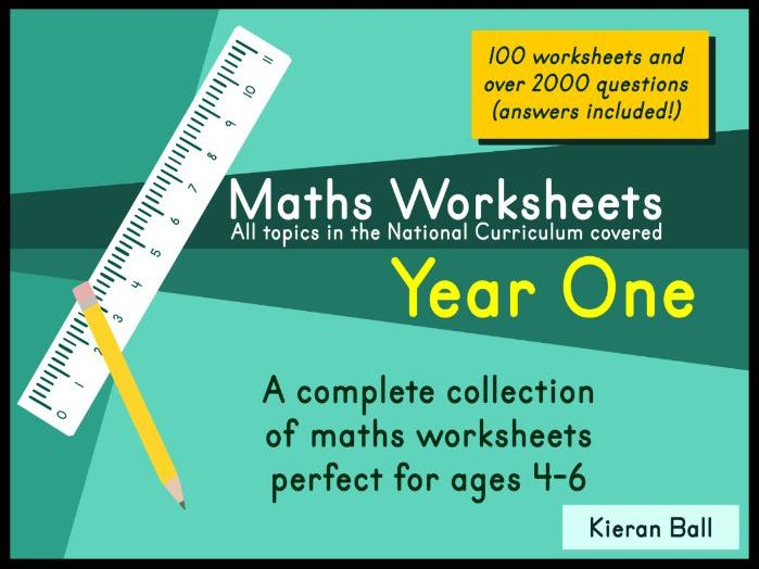 100 Maths Worksheets - Year One - All topics covered