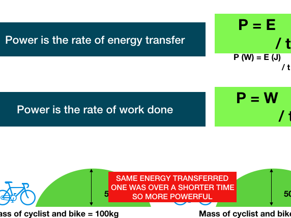 Energy revision presentation short sharp key ideas, animations equations key facts, questions