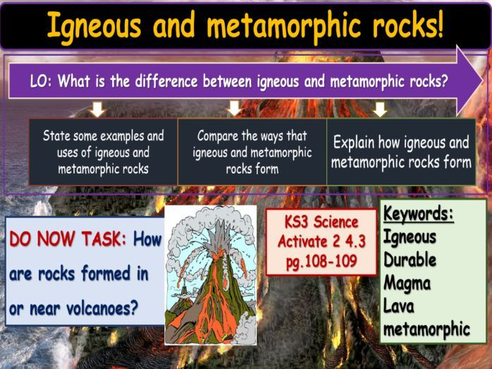 Igneous and metamorphic rocks KS3 Activate Science