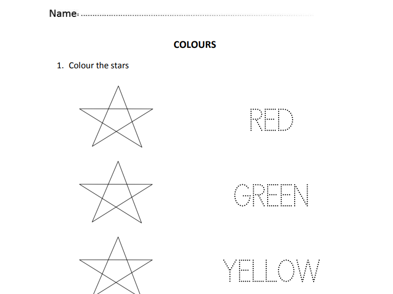 Colours for Nursery and Reception students