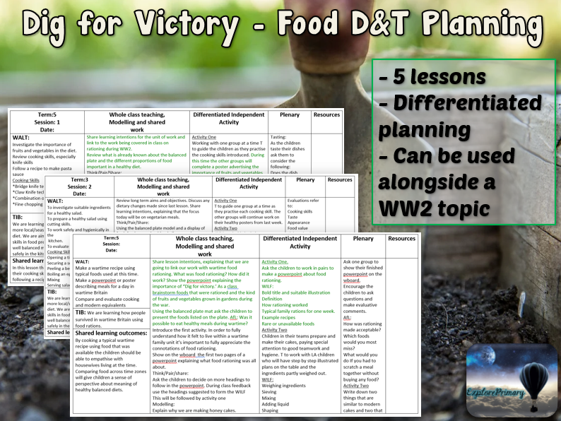 DIG FOR VICTORY Food Technology Unit - 5 Lessons