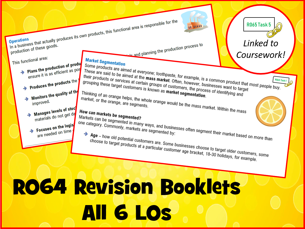 R064 - Revision BOOKLETS - All 6 LOs (Cambridge National in Enterpise & Marketing)