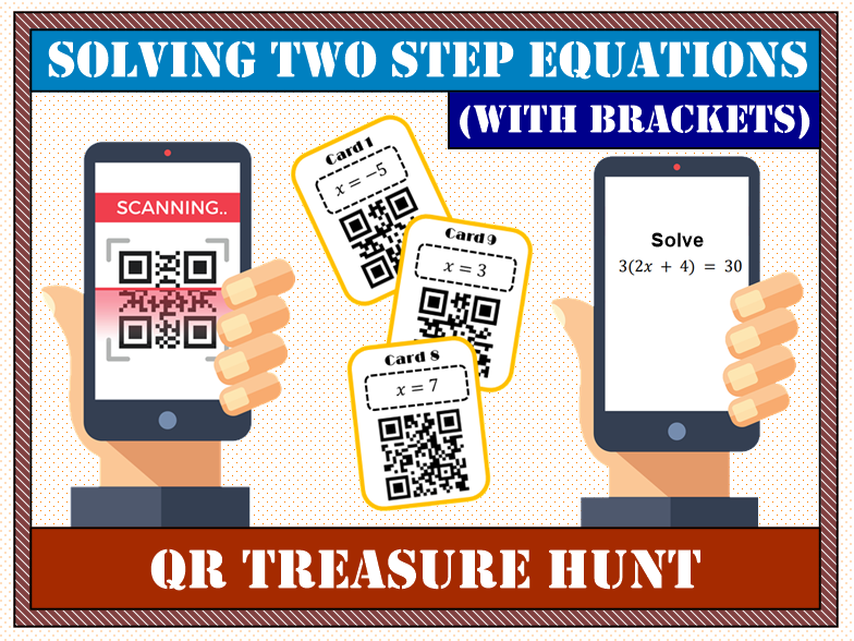 💡 Solving Two Step Equations with Brackets QR Treasure Hunt 📱