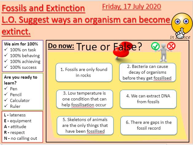 AQA B15.6 Fossils and extinction