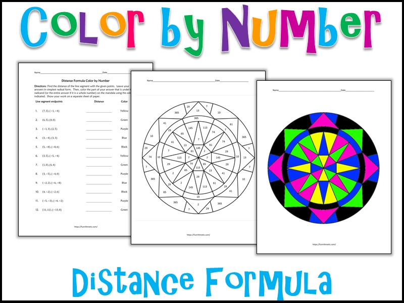 Distance Formula Color by Number
