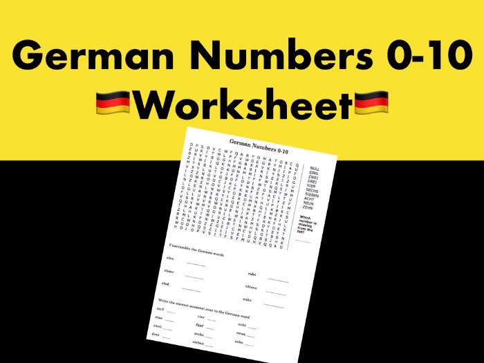 German Numbers 0-10 Worksheet