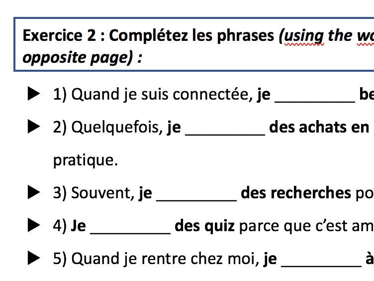 Que fais-tu quand tu es connecté(e) worksheet