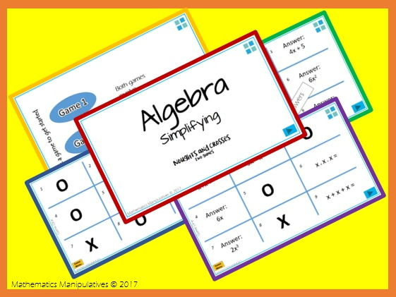 Algebra Simplifying Noughts and Crosses PowerPoint Games
