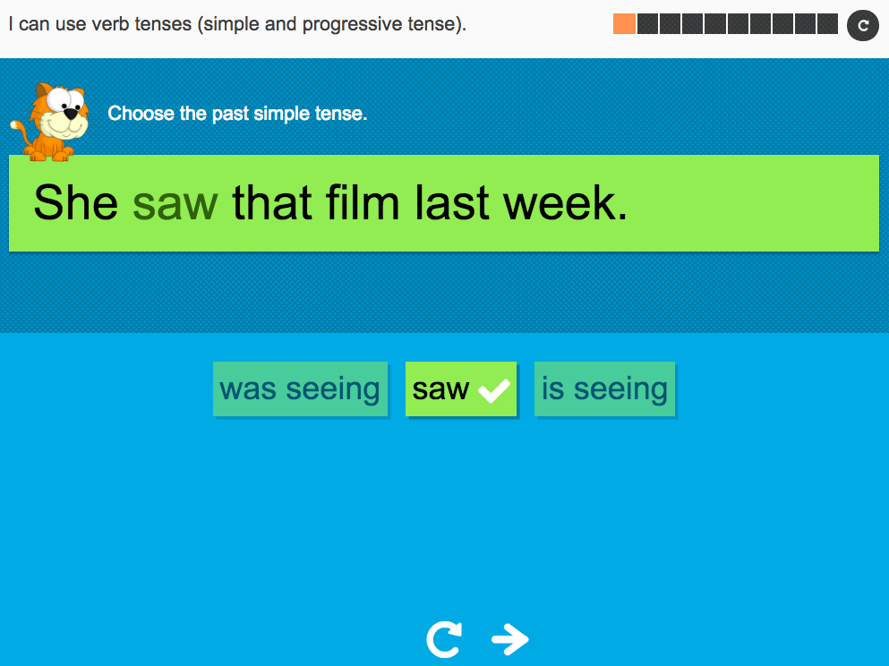I can use verb tenses (simple and progressive tense) - Interactive Activity - Year 3 Spag