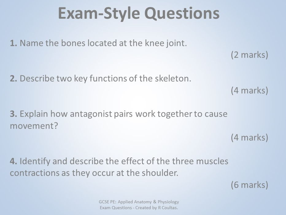 AQA GCSE PE (9-1) Anatomy & Physiology Exam Questions with Mark Scheme