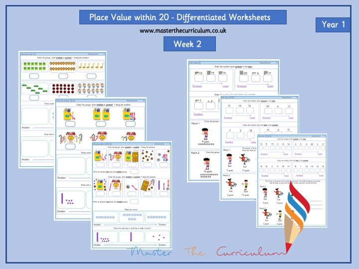 Year 1 - Place Value to 20 -Week 2 -Differentiated Worksheets - White Rose Style