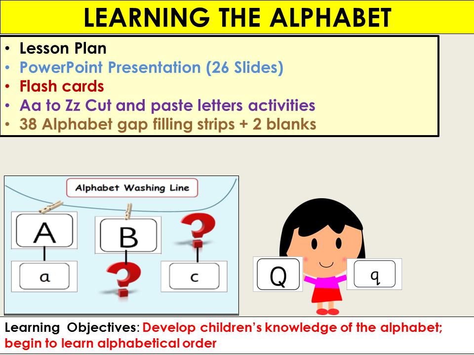 Alphabet: Presentation, Lesson Plan, Alphabet flash cards, Gap filling, Activities