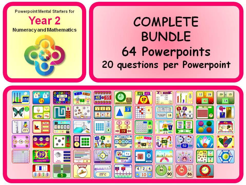 KS1 Year 2 Maths Powerpoint Mental Starters BUNDLE