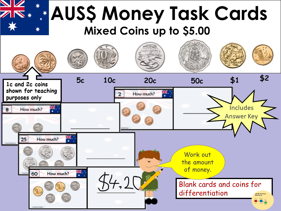 Australia Money Task Cards - Add up Mixed Coins to Value $5, Recording Sheet, Blank Cards and Coins