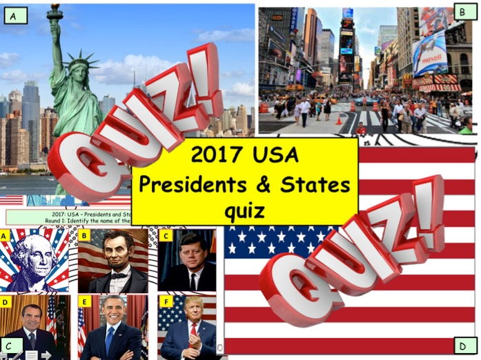 2017 USA - US Presidents and States Quiz - 6 rounds and 40 Questions. End of term Quiz Politics Geog