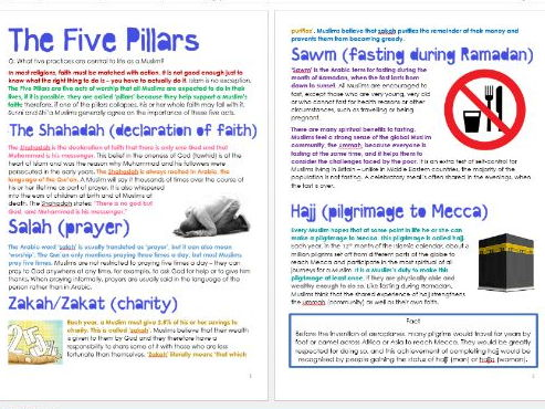 Islam: The Five Pillars: Differentiated Information and Activity Sheets