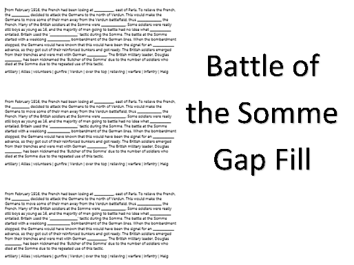 Battle of the Somme Gap Fill