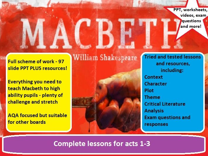 Macbeth - complete high ability scheme of work, acts 1-3, 97 SLIDE PPT plus RESOURCES