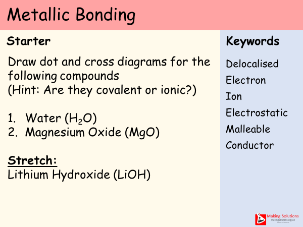 AQA Chapter 2 - Lesson 3 - Metallic Bonding